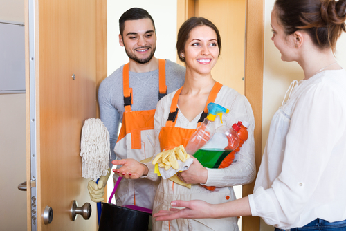 Two professional cleaners who specialize in deep cleans will arrive at the scheduled time of your move in clean