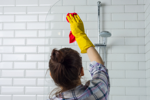 Professional house cleaner deep cleans bathroom in Naperville, IL